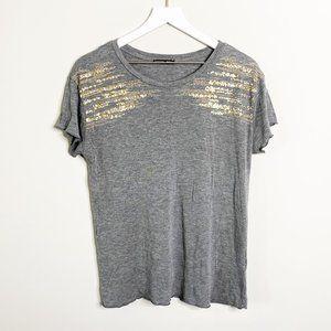 Zara Grey & Gold Sequin Embellished T-Shirt